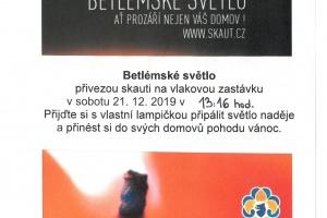 Betlémské světlo, sobota 21.12.2019 ve 13:16 hod. (vlakové nádraží Radostice)