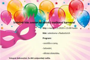 Maškarní karneval pro děti, neděle 1. 3. 2020