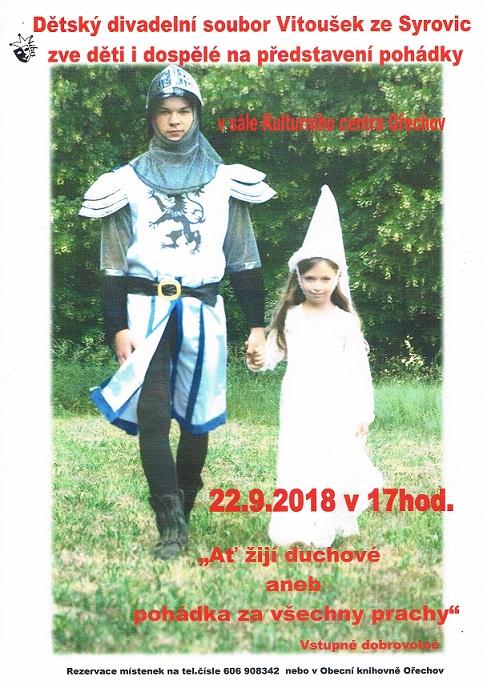 Pozvánky na kulturní akce v Ořechově